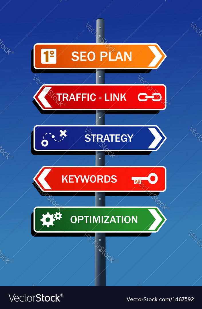 Seo plan steps road post vector | Price: 1 Credit (USD $1)