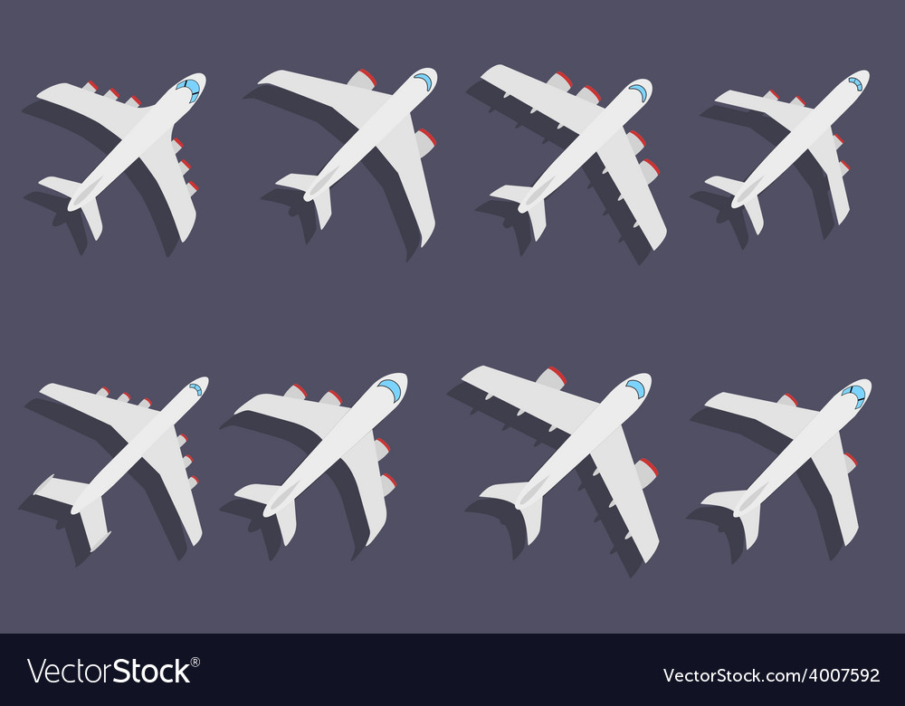 Set of different airplane symbols vector