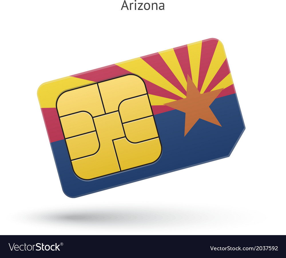 State of arizona phone sim card with flag vector | Price: 1 Credit (USD $1)