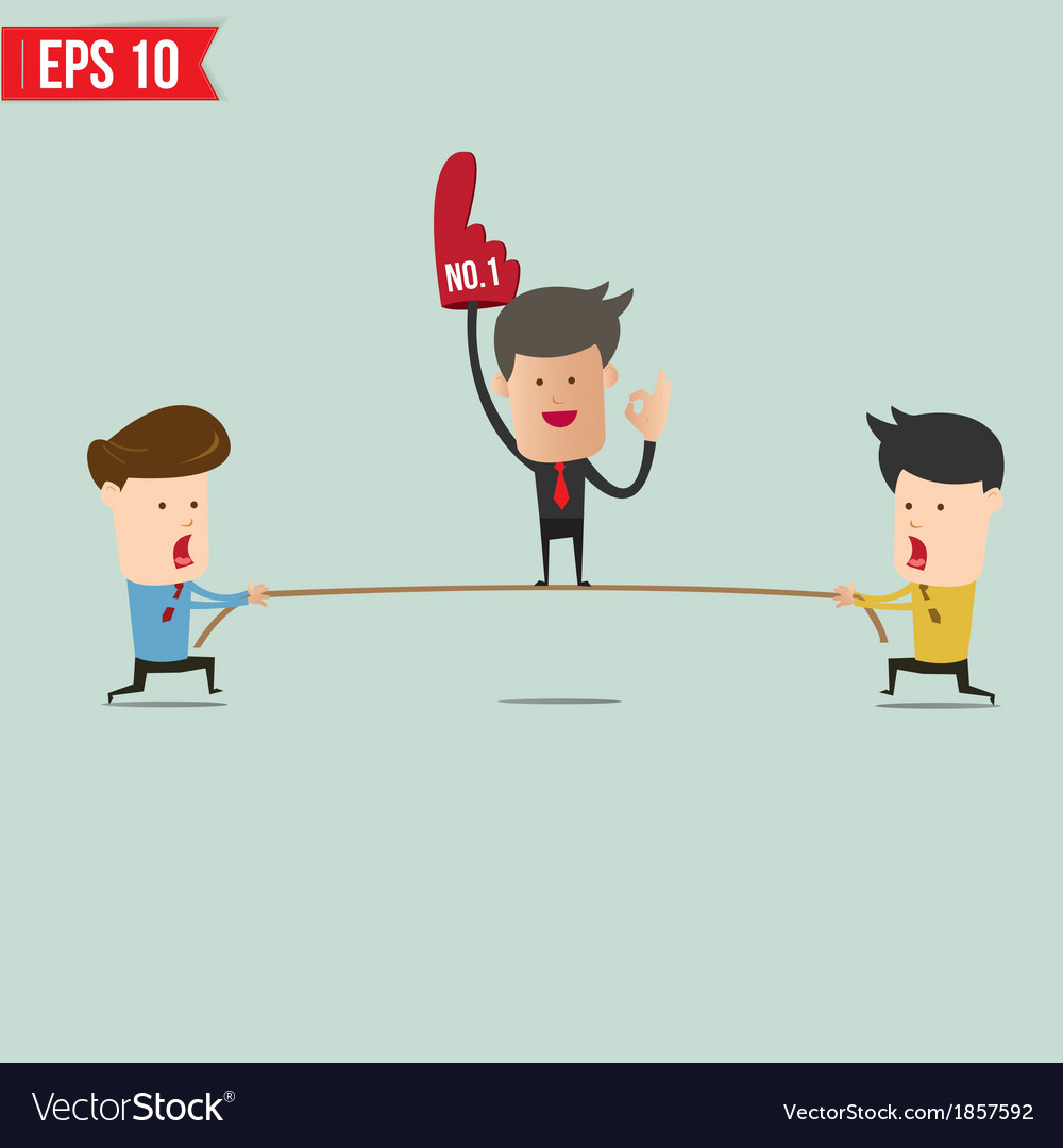 Two businessmen playing tug of war vector | Price: 1 Credit (USD $1)