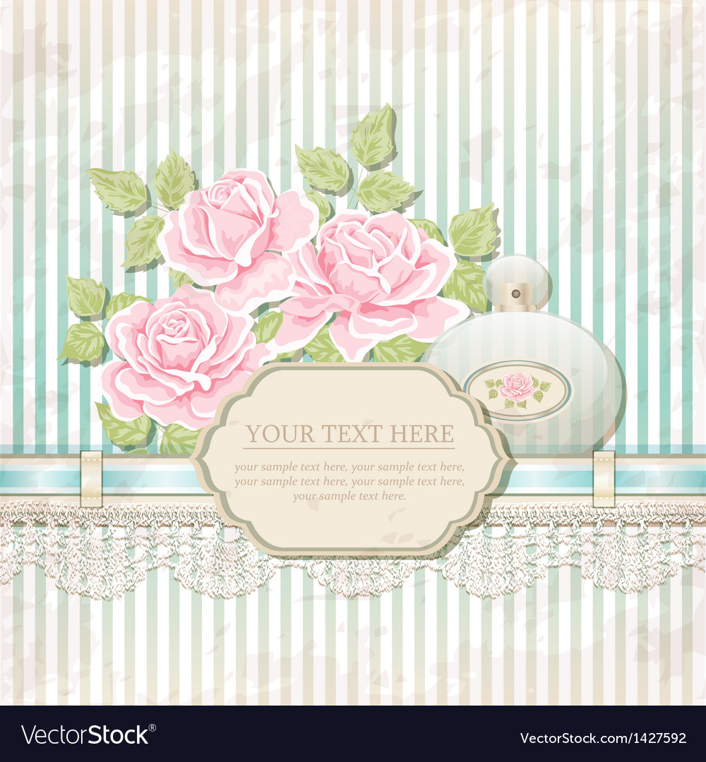 Vintage background with roses and perfume bottle vector | Price: 1 Credit (USD $1)