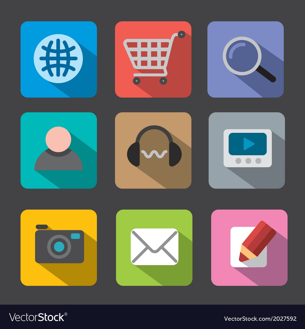 Web icon set flat vector | Price: 1 Credit (USD $1)