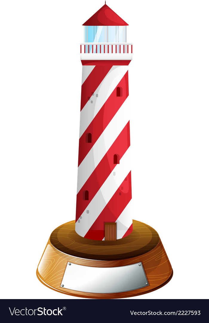 A tower above the wooden stand with an empty label vector | Price: 1 Credit (USD $1)