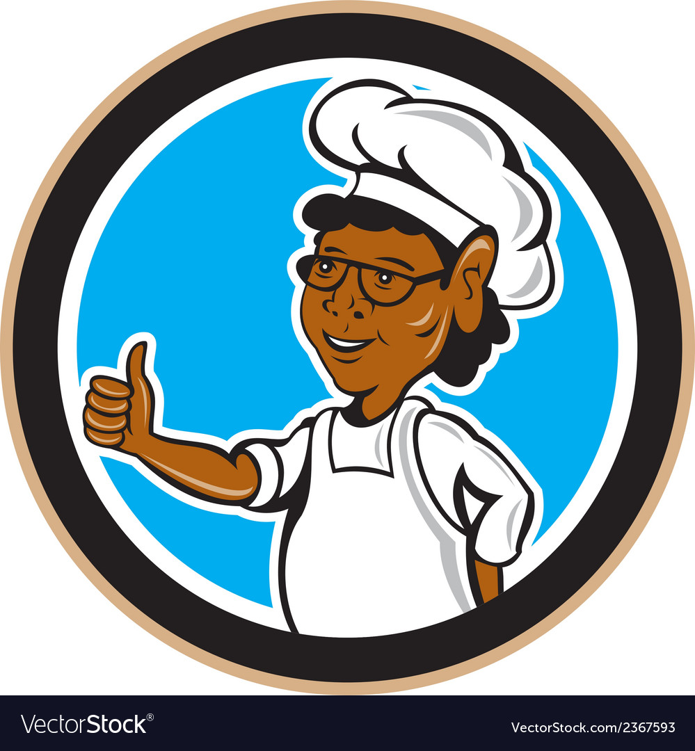 African american chef cook thumbs up circle vector | Price: 1 Credit (USD $1)