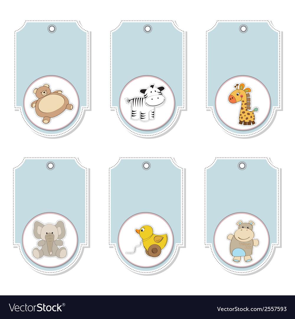Cartoon animals labels set vector   Price: 1 Credit (USD $1)