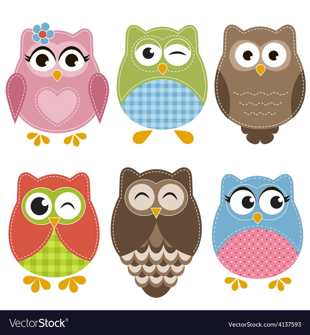 Colorful owls set vector | Price: 1 Credit (USD $1)