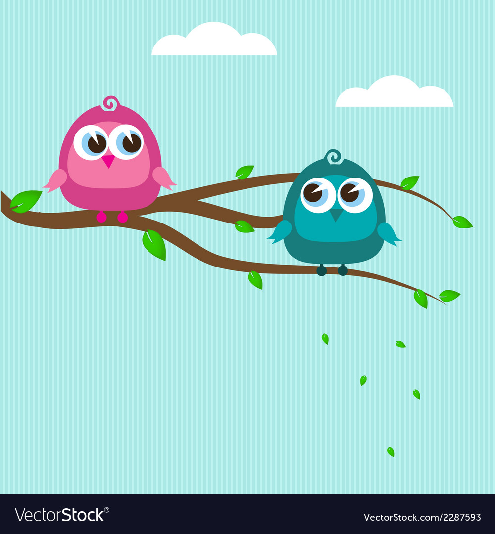 Cute birds on the tree branch vector | Price: 1 Credit (USD $1)
