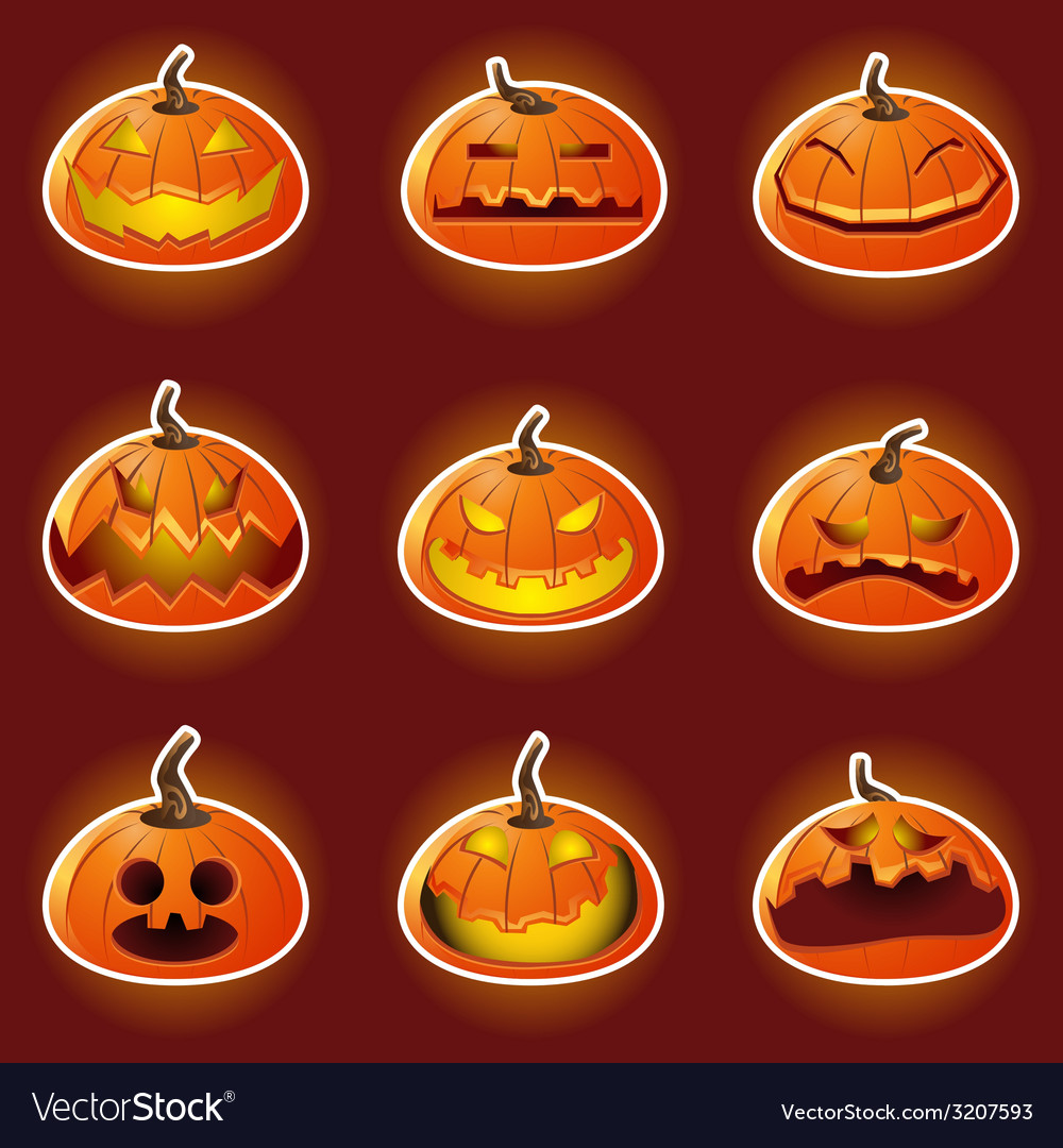 Halloween pumpkin character emoticon icons vector | Price: 1 Credit (USD $1)