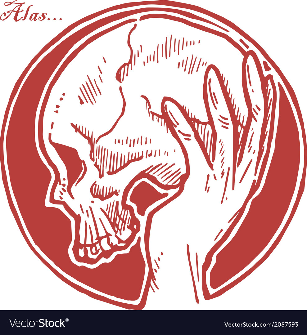 Hand holding skull vector | Price: 1 Credit (USD $1)