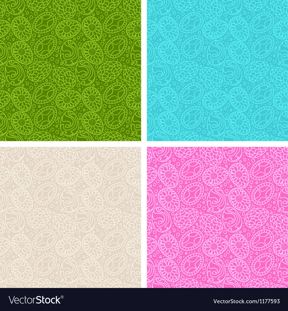 Happy easter egg seamless patterns set vector | Price: 1 Credit (USD $1)