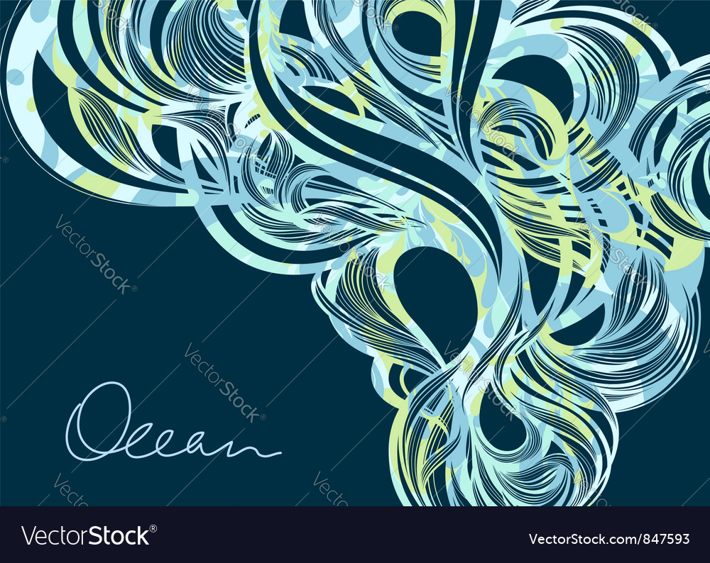 Ocean fluids - abstract blue background vector | Price: 1 Credit (USD $1)