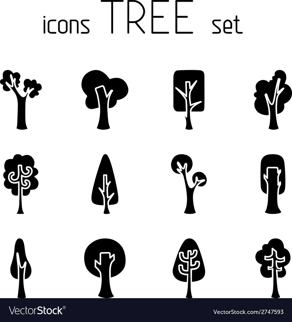 Set of 12 tree icons vector | Price: 1 Credit (USD $1)