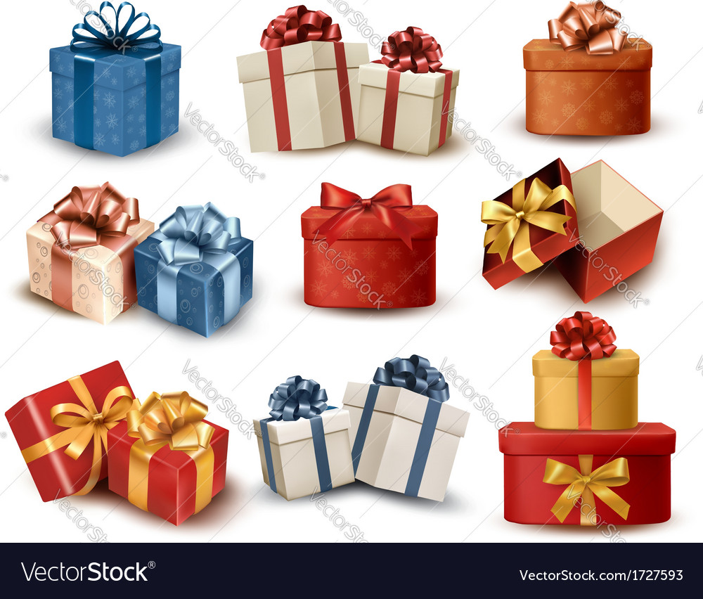 Set of colorful retro gift boxes with bows and vector | Price: 1 Credit (USD $1)
