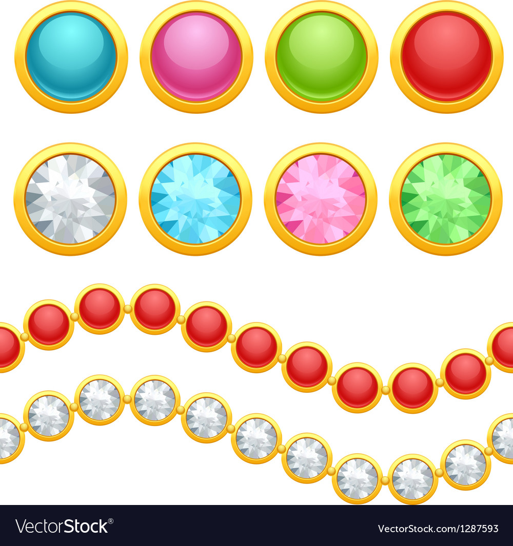 Set of round jewelery buttons and seamless chain vector | Price: 1 Credit (USD $1)