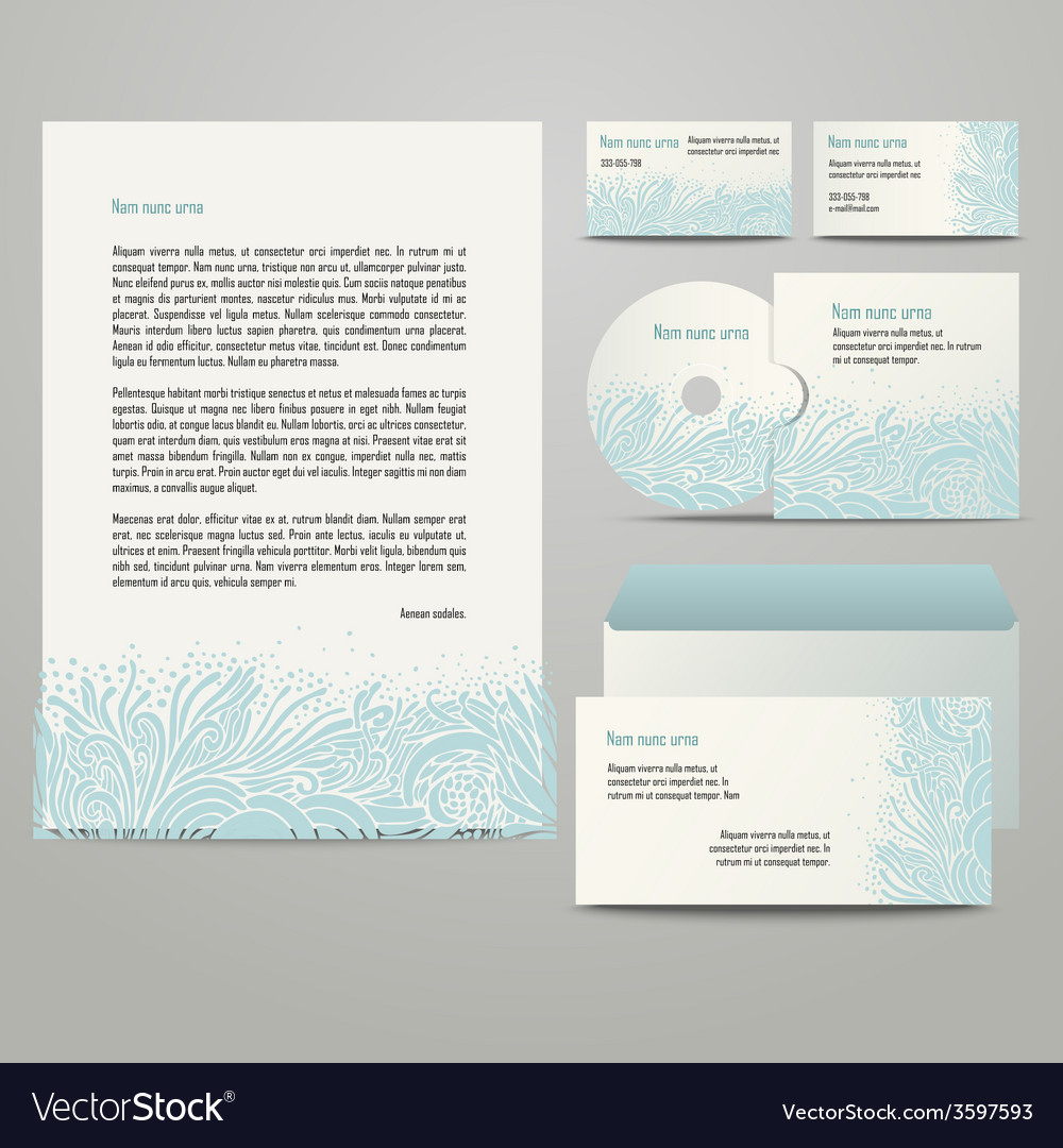 Template with blue floral pattern vector | Price: 1 Credit (USD $1)