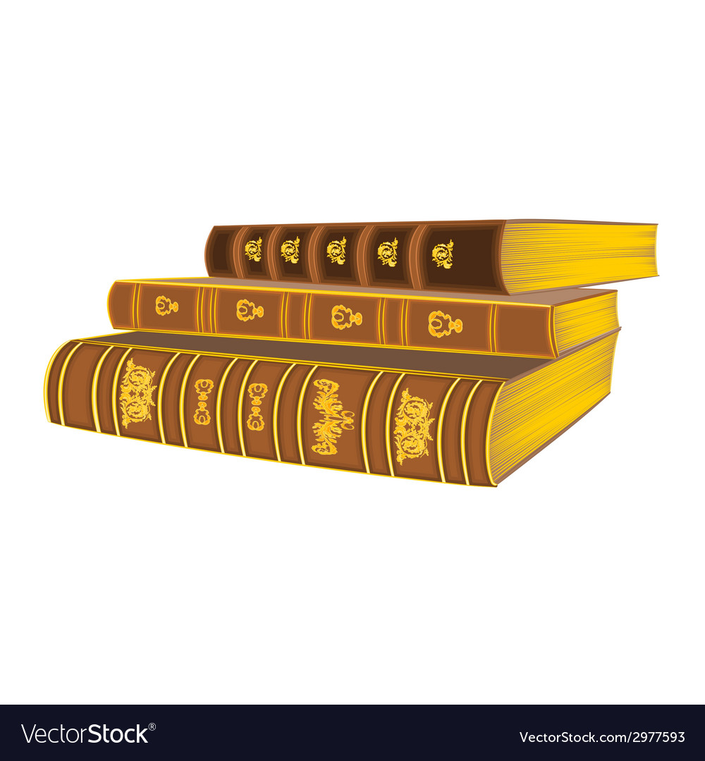 Three old books vintage vector | Price: 1 Credit (USD $1)