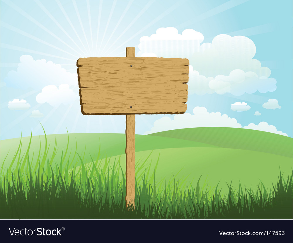 Wood sign in grass vector | Price: 1 Credit (USD $1)