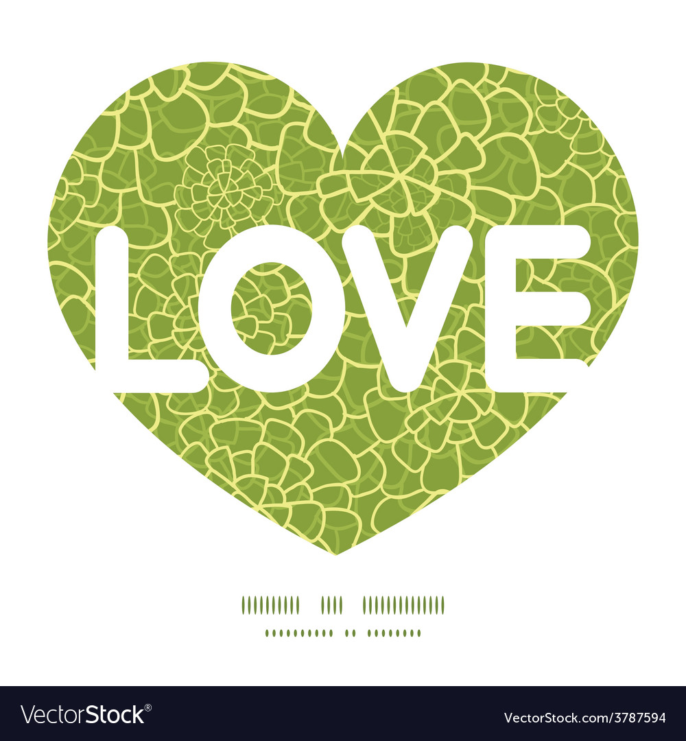Abstract green natural texture love text vector | Price: 1 Credit (USD $1)