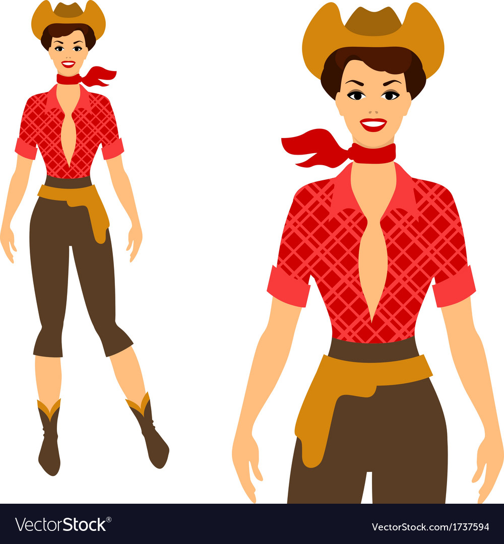 Beautiful pin up cowgirl 1950s style vector | Price: 1 Credit (USD $1)