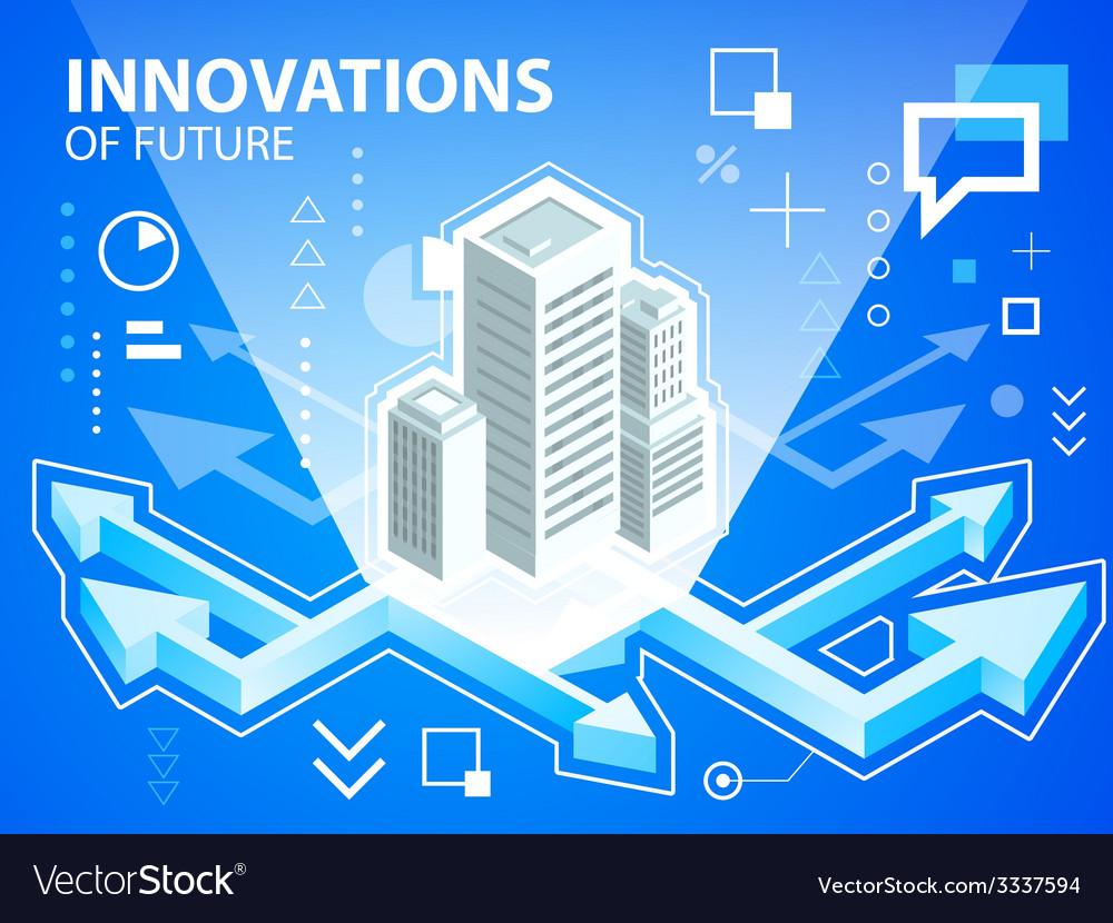 Bright arrows and buildings on blue backgrou vector | Price: 3 Credit (USD $3)