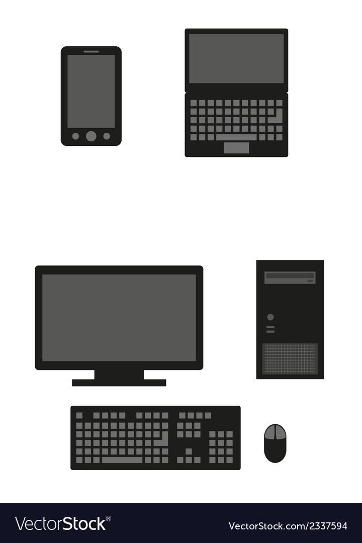 Computers silhouette vector | Price: 1 Credit (USD $1)