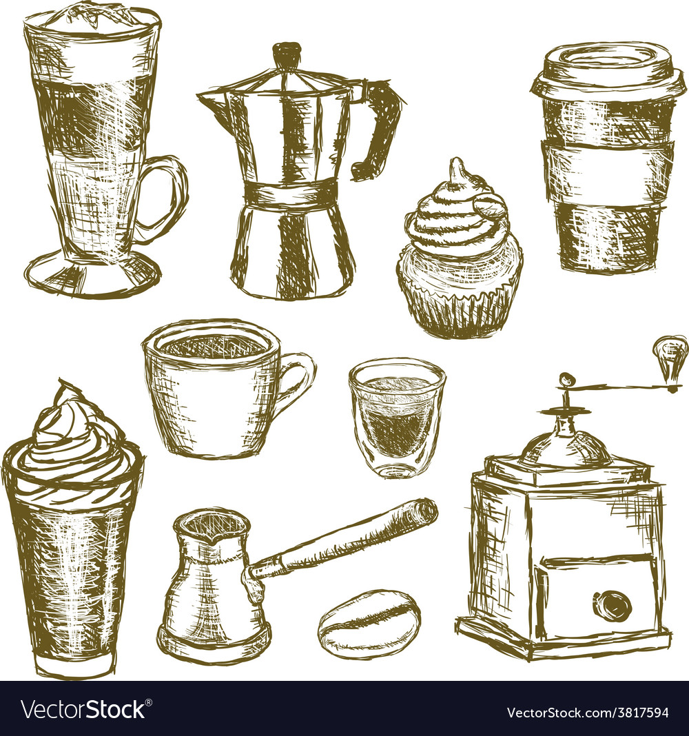Doodle coffee images vector