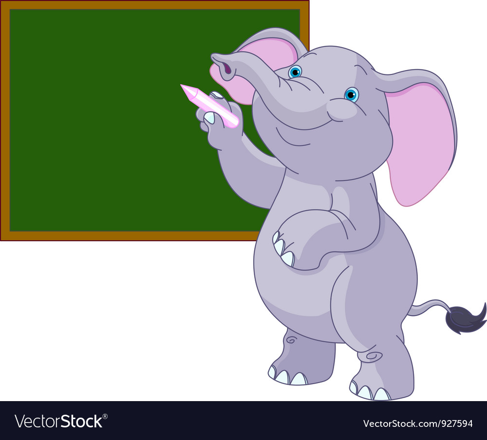 Elephant writing on blackboard vector | Price: 3 Credit (USD $3)