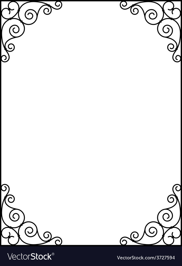 Forged openwork metal abstract black frame vector | Price: 1 Credit (USD $1)