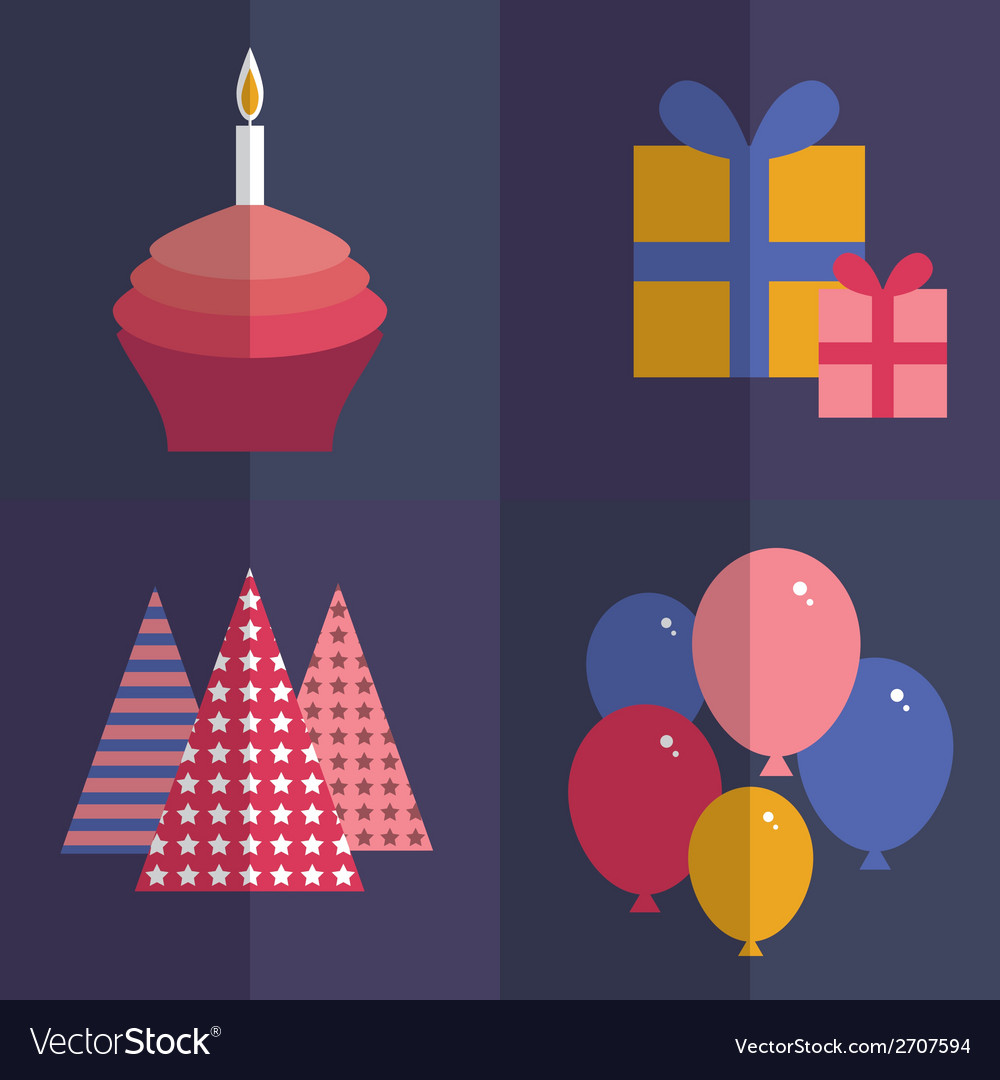 Happy birthday flat style set cupcake with a vector | Price: 1 Credit (USD $1)