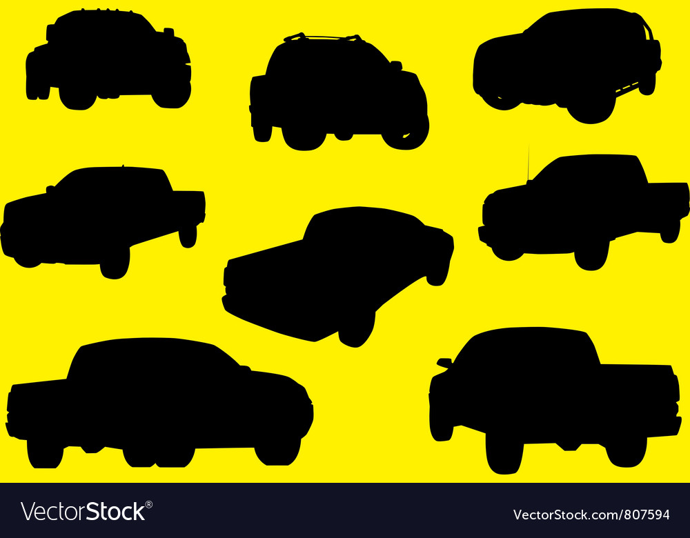 Pick-up trucks silhouettes part 1 vector | Price: 1 Credit (USD $1)