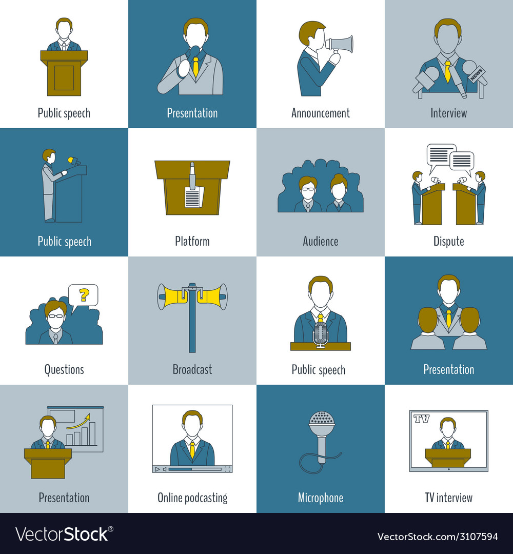 Public speaking icons flat line vector | Price: 1 Credit (USD $1)