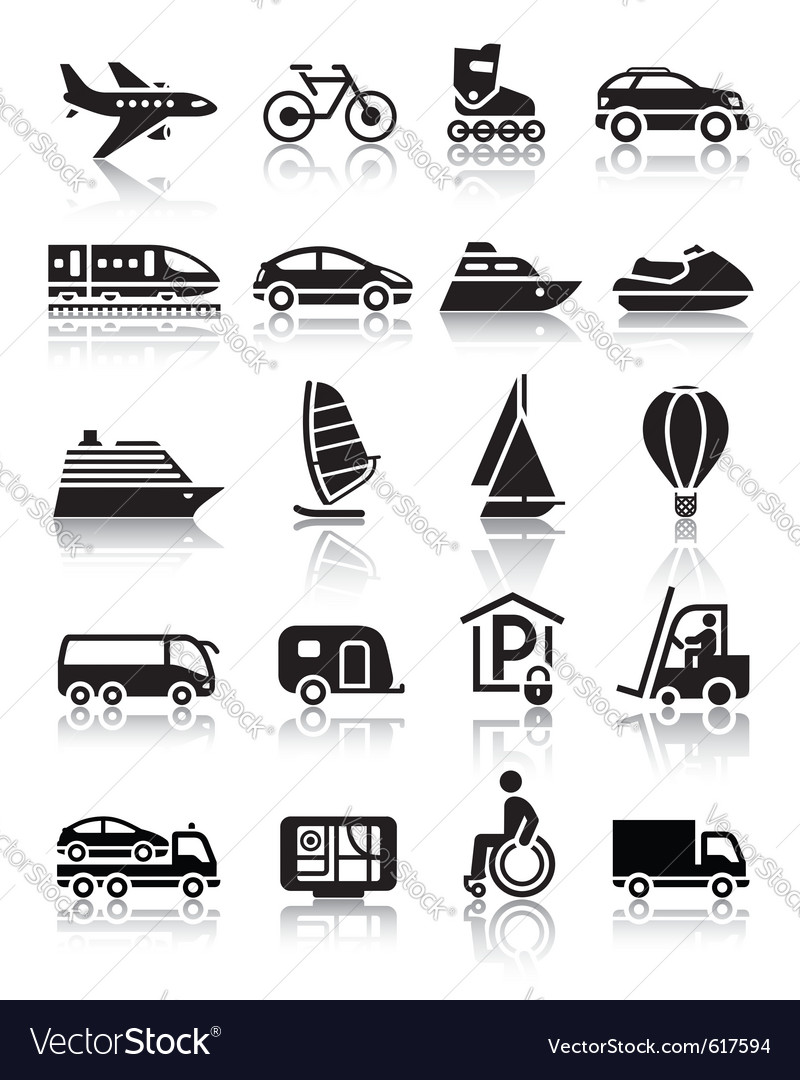 Set of simple transport icons with reflection vector | Price: 1 Credit (USD $1)