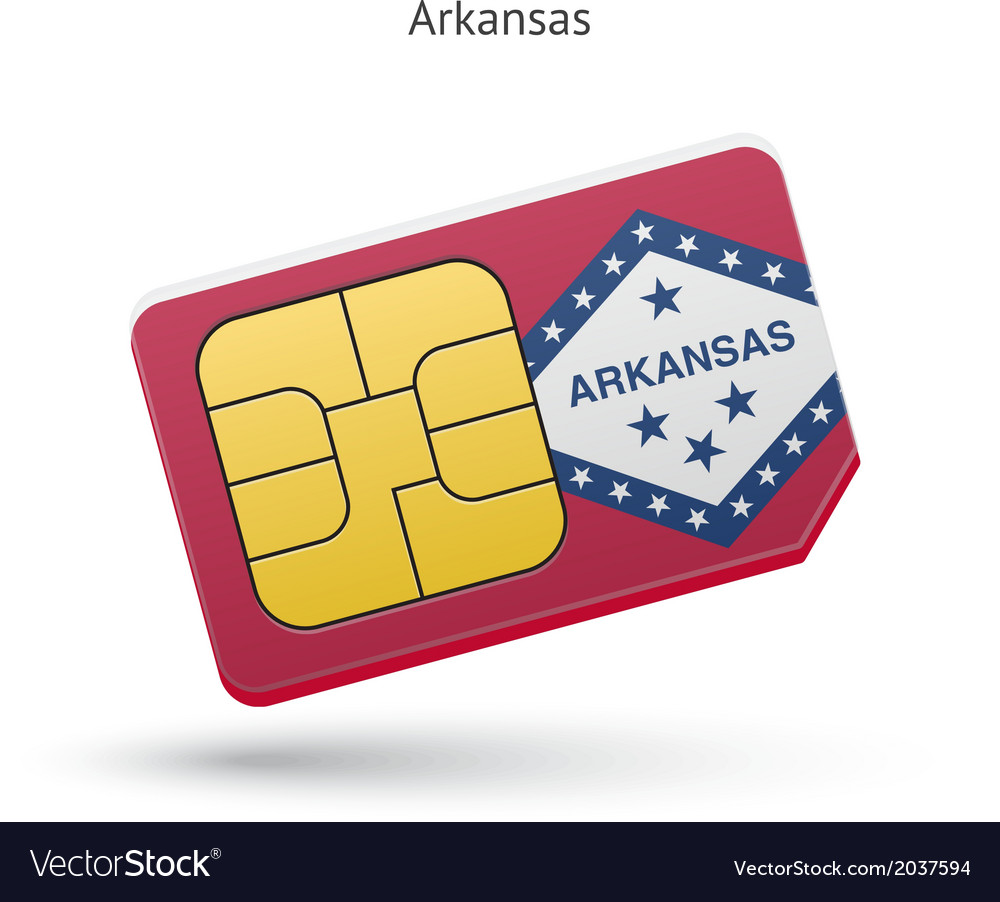 State of arkansas phone sim card with flag vector | Price: 1 Credit (USD $1)