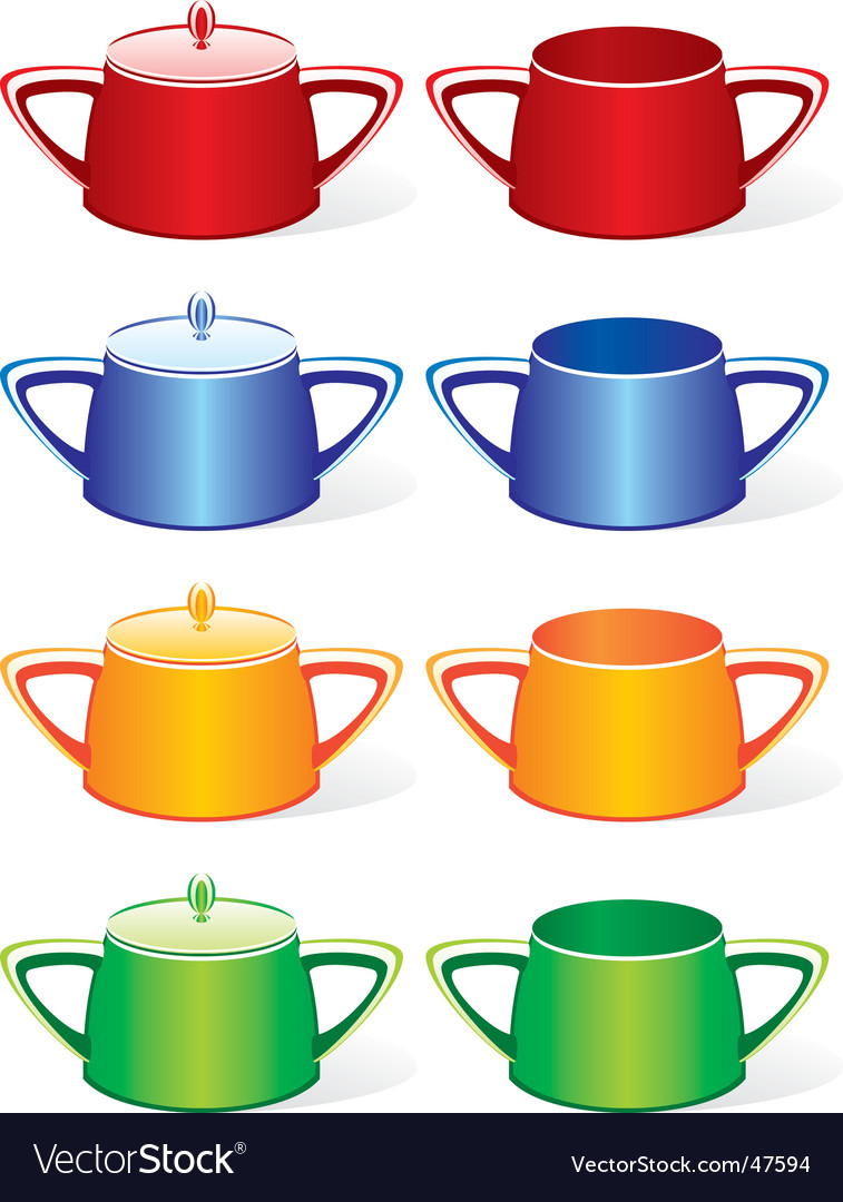 Sugar bowls set vector | Price: 1 Credit (USD $1)