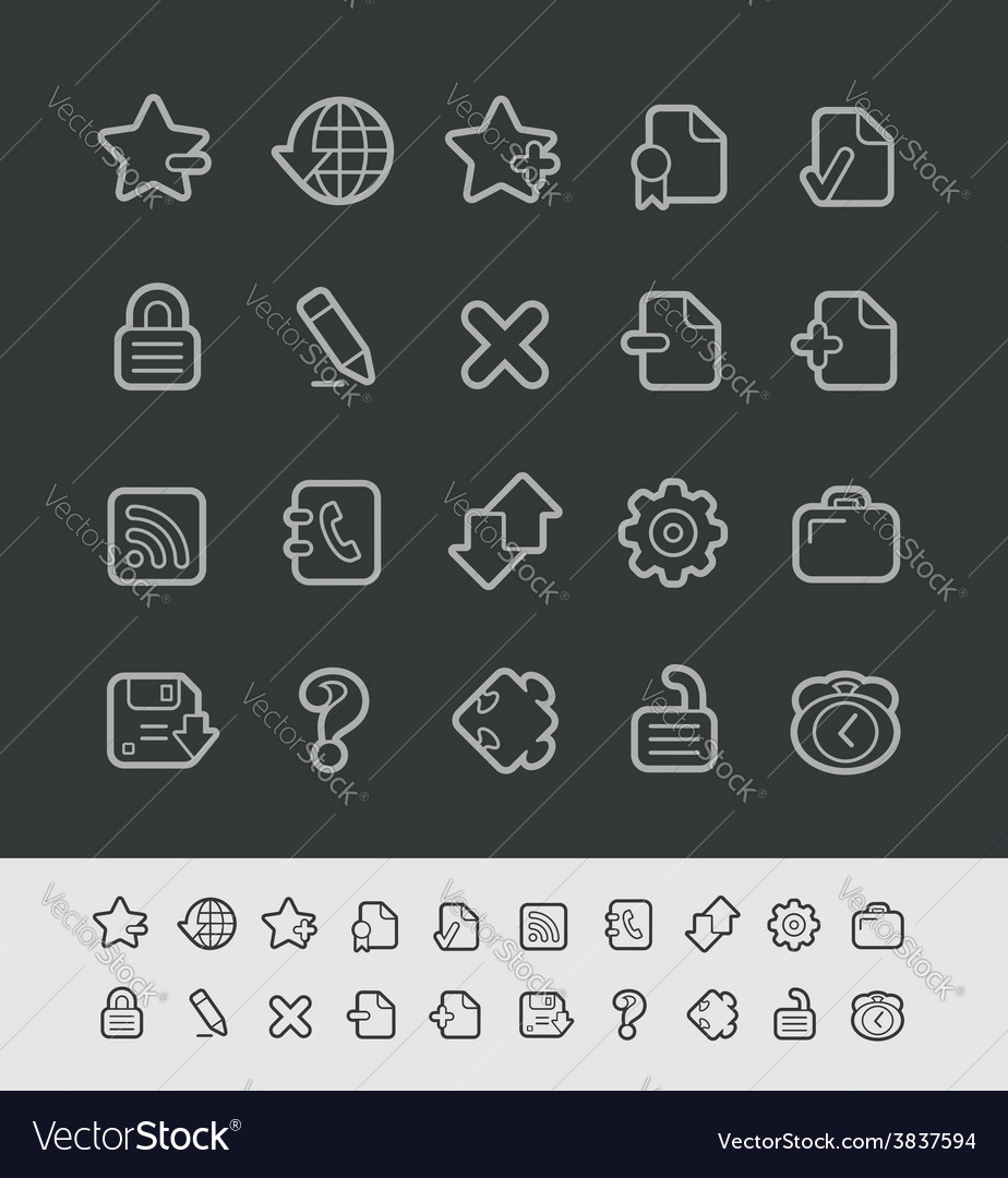 Web icons black line vector | Price: 1 Credit (USD $1)