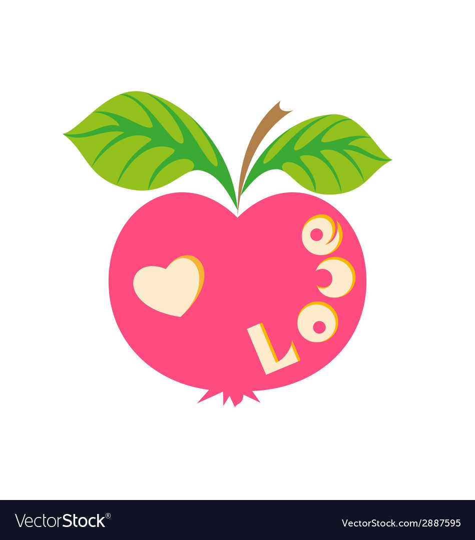 Apple with word love vector | Price: 1 Credit (USD $1)