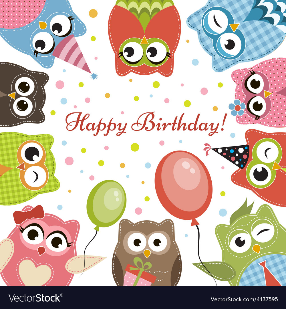 Birdhday card with cute owls vector | Price: 1 Credit (USD $1)