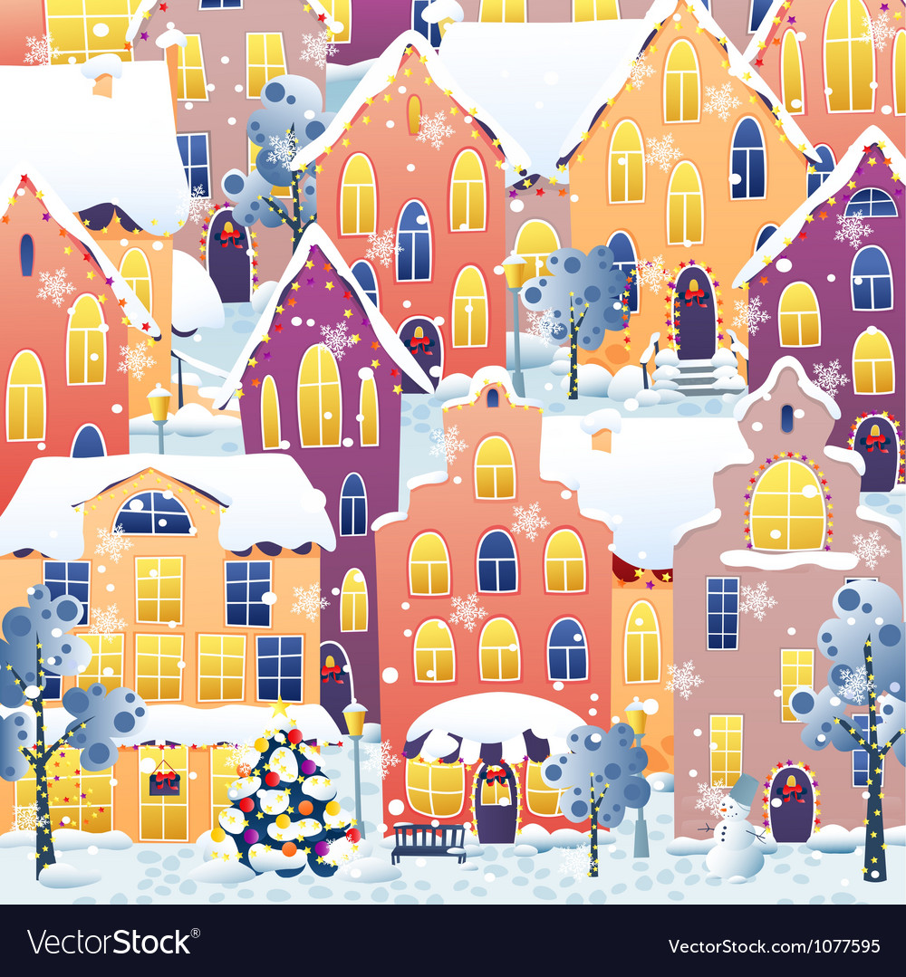 Christmas town vector | Price: 1 Credit (USD $1)