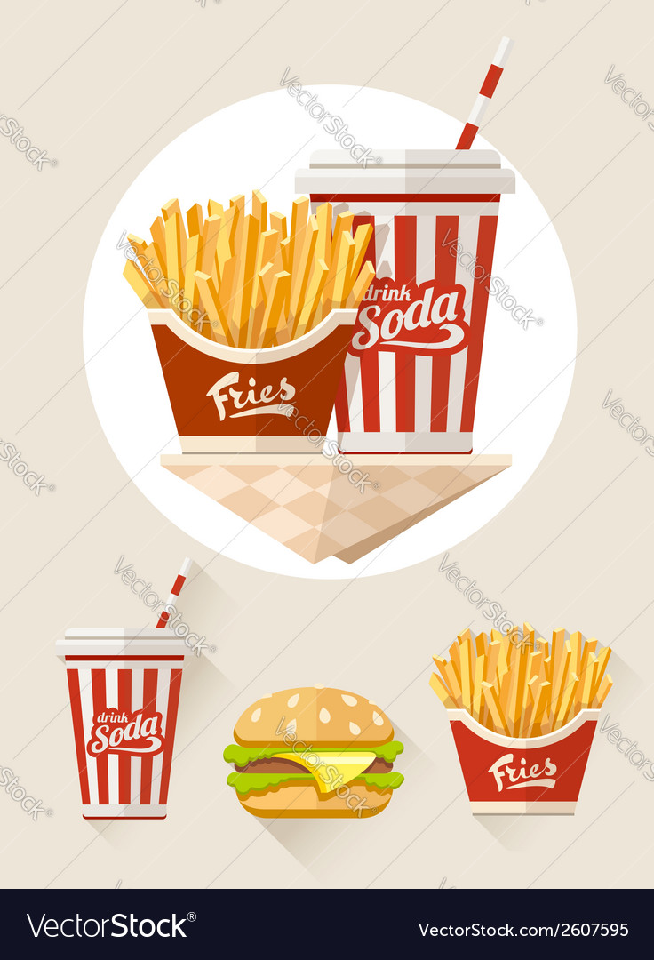 French fries and soda in vector | Price: 1 Credit (USD $1)