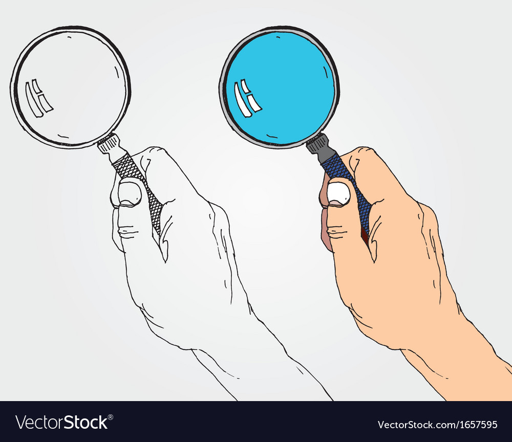 Hand with lens vector | Price: 1 Credit (USD $1)