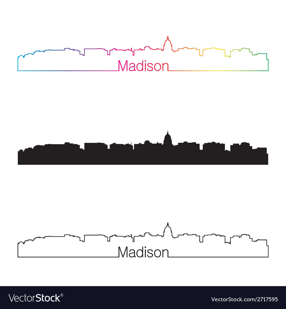 Madison skyline linear style with rainbow vector | Price: 1 Credit (USD $1)