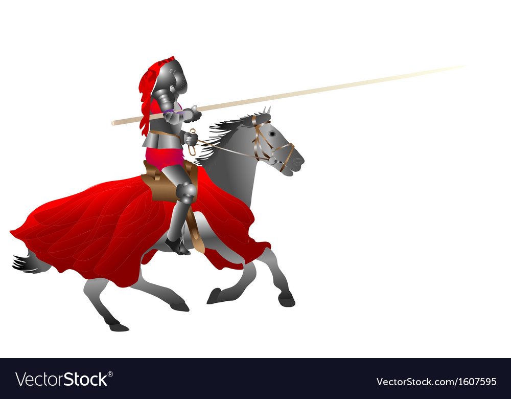 Medieval armored knight armed with pike jousting o vector | Price: 1 Credit (USD $1)
