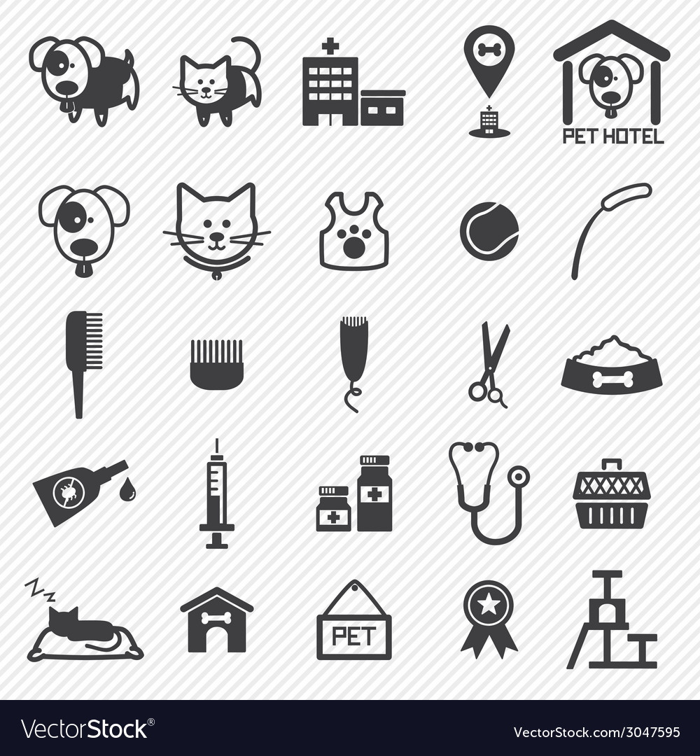 Pet care icons set vector | Price: 1 Credit (USD $1)