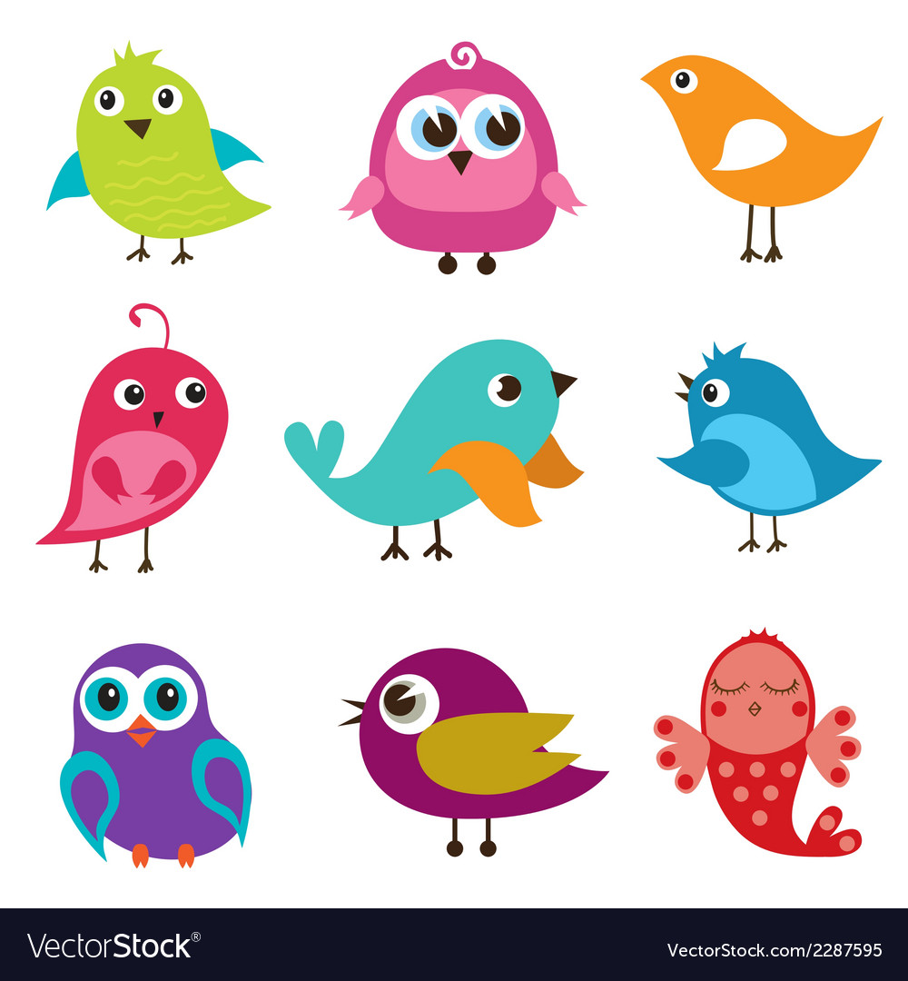 Set of different cute birds vector | Price: 1 Credit (USD $1)