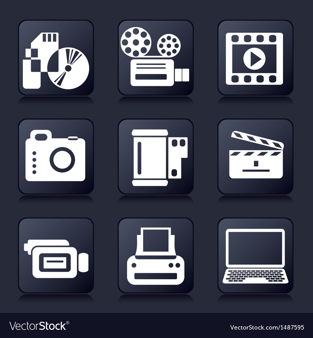 Set photo and video icons vector | Price: 1 Credit (USD $1)