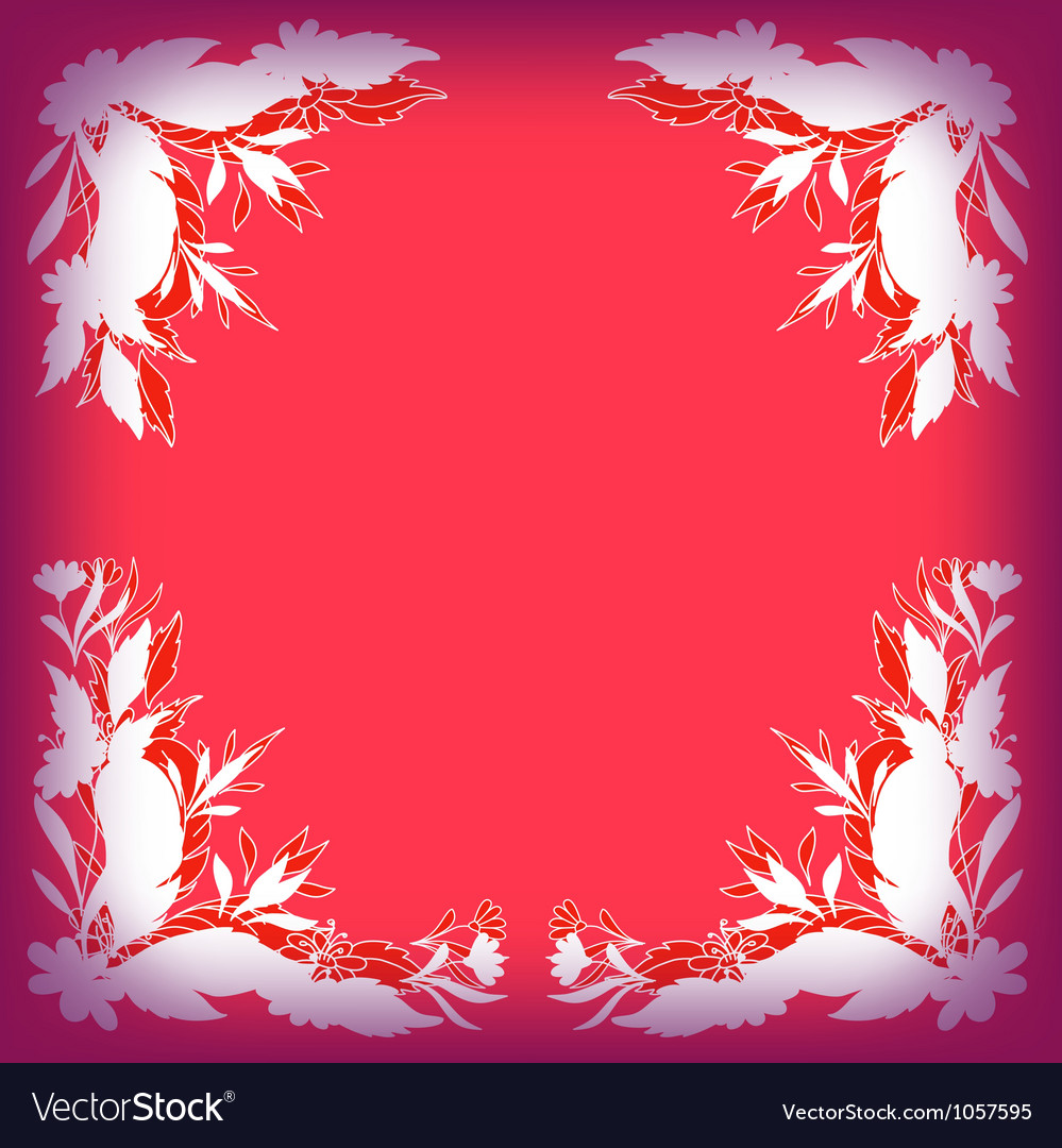 Silhouette leaves flowers and feathers on red vector | Price: 1 Credit (USD $1)