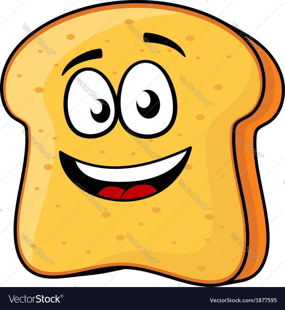 Slice of bread or toast with a beaming smile vector | Price: 1 Credit (USD $1)