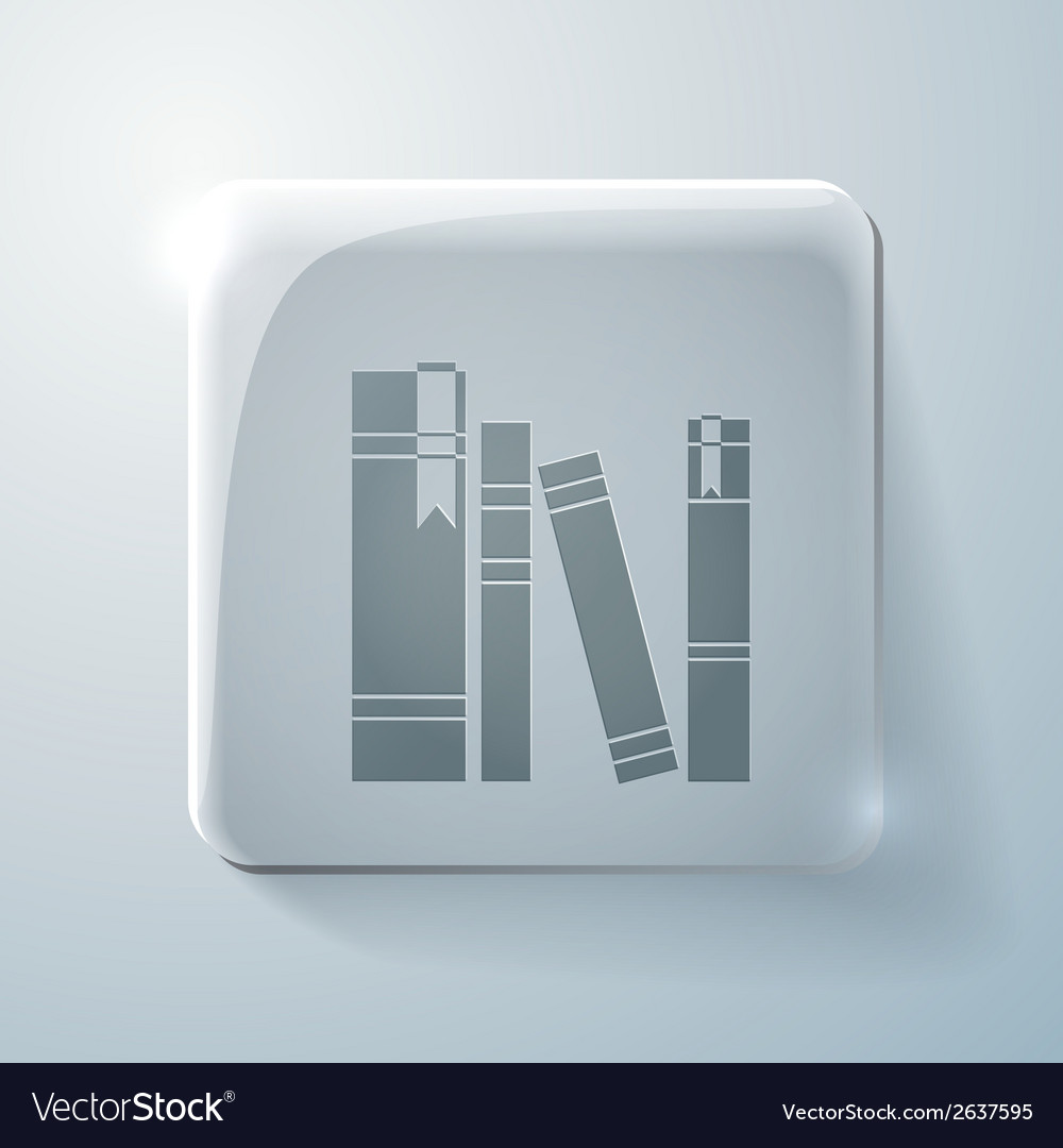 Spines of books glass square icon vector | Price: 1 Credit (USD $1)