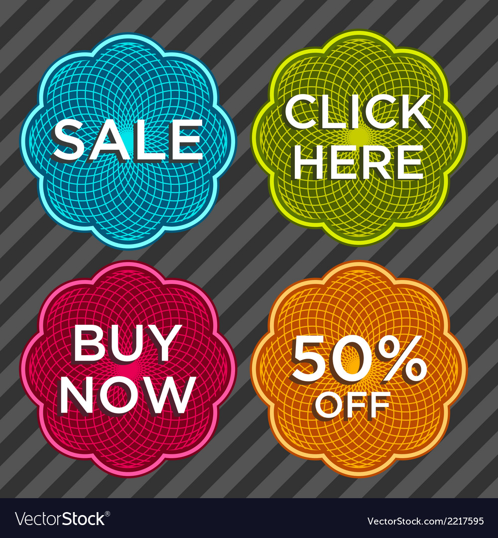 Spirograph sale stickers vector | Price: 1 Credit (USD $1)