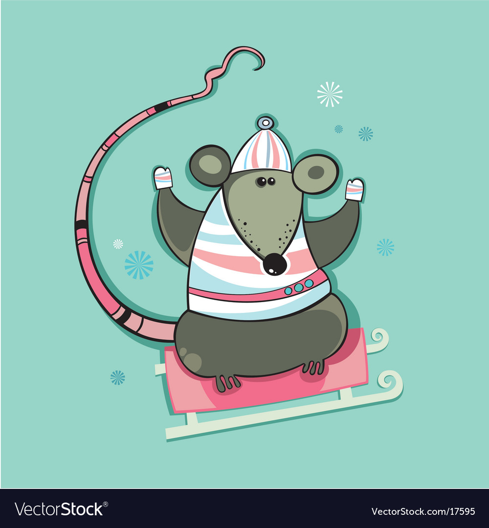 Winter christmas rat vector | Price: 3 Credit (USD $3)